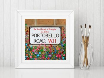Jo Gough - Portobello Road Sign London with flowers Print From £10
