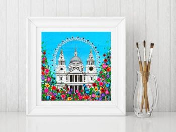 Jo Gough - St Pauls Cathedral & London Eye with flowers Print From £10
