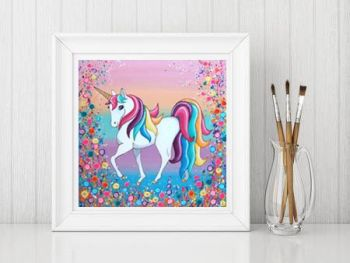 Jo Gough - Unicorn with flowers Print From £10