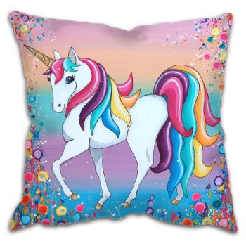 Jo Gough - Unicorn with flowers Cushion