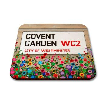 Jo Gough - Covent Garden St Sign London with flowers Coaster