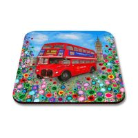 Jo Gough - Red London Bus with flowers Coaster