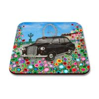 Jo Gough - Black London Taxi with flowers Coaster
