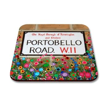Jo Gough - Portobello Road Sign London with flowers Coaster