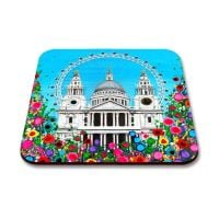 Jo Gough - St Pauls Cathedral & London Eye with flowers Coaster