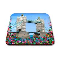 Jo Gough - Tower Bridge London with flowers Coaster