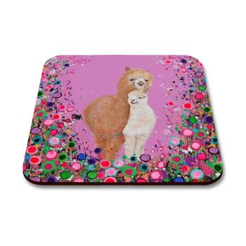 Jo Gough - Alpacas with flowers Coaster