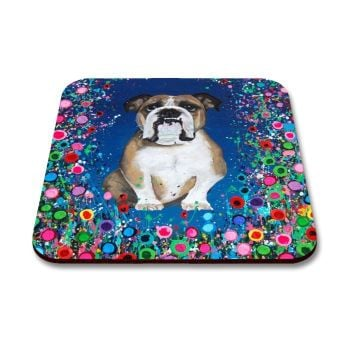 Jo Gough - Bull Dog with flowers Coaster