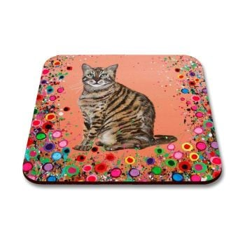 Jo Gough - Cat with flowers Coaster