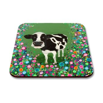 Jo Gough - Cow with flowers Coaster