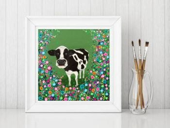 Jo Gough - Cow with flowers Print From £10