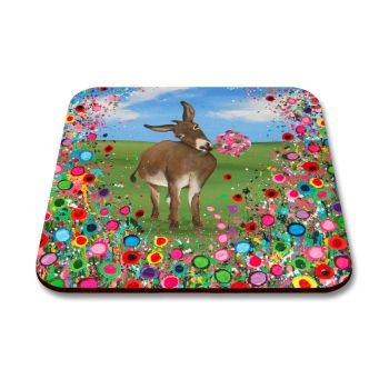 Jo Gough - Donkey with flowers Coaster