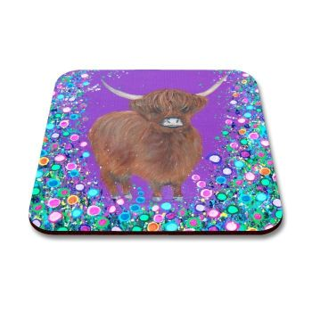 Jo Gough - Highland Cow with flowers Coaster