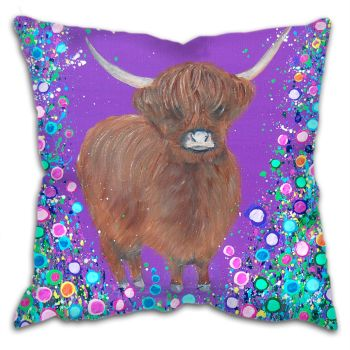 Jo Gough - Highland Cow with flowers Cushion