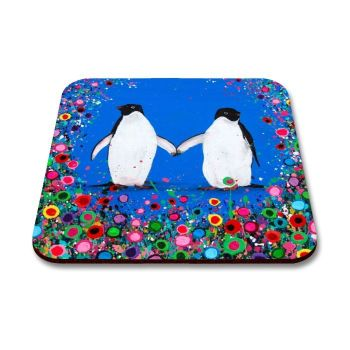 Jo Gough - Penguin with flowers Coaster