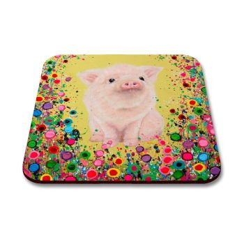 Jo Gough - Piglet with flowers Coaster