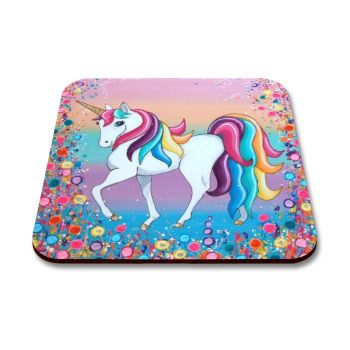 Jo Gough - Unicorn with flowers Coaster