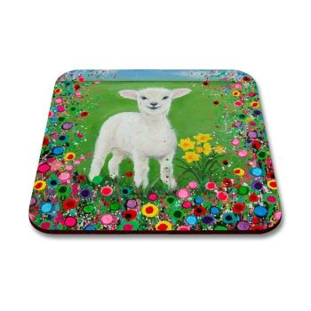 Jo Gough - Welsh Lamb with flowers Coaster