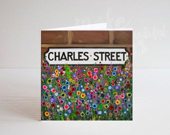 Jo Gough - Charles St Sign Hoole with flowers Greeting Card