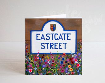 Jo Gough - Chester Eastgate St Sign with flowers Greeting Card
