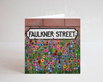 Jo Gough - Faulkner St Sign Hoole with flowers Greeting Card