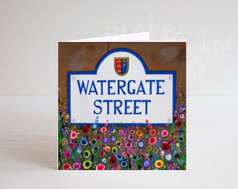 Jo Gough - Chester Watergate St Sign with flowers Greeting Card