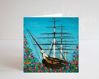 Jo Gough - Cutty Sark Greenwich with flowers Greeting Card
