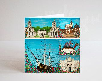 Jo Gough - Greenwich Landmarks with flowers Greeting Card