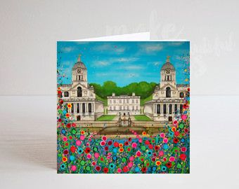Jo Gough - Royal Naval College Greenwich with flowers Greeting Card