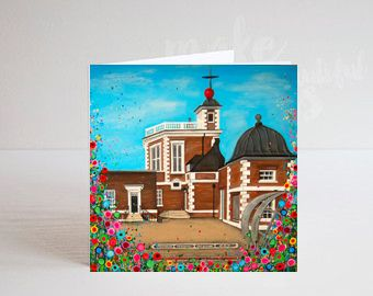 Jo Gough - The Observatory Greenwich with flowers Greeting Card