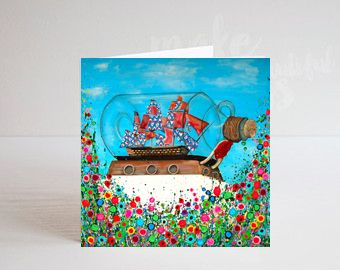 Jo Gough - Greenwich Ship in a Bottle with flowers Greeting Card