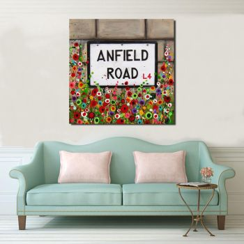 Jo Gough - LFC Anfield Road Sign with flowers Canvas Print From £85