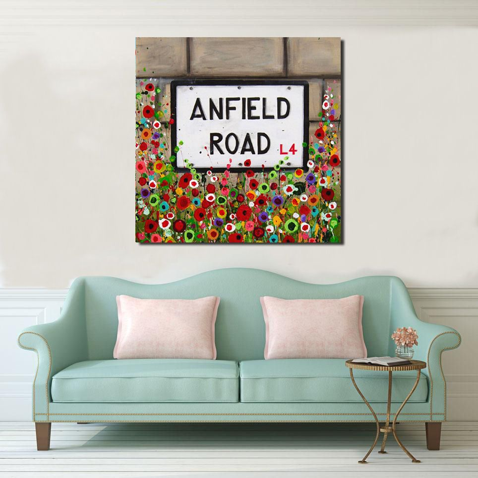 Jo Gough - Anfield Road Sign with flowers Canvas Print From £85