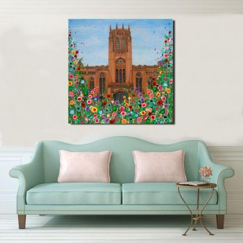 Jo Gough - Liverpool Anglican Cathedral with flowers Canvas Print From £85