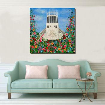 Jo Gough - Liverpool Metropolitan Cathedral with flowers Canvas Print From £85