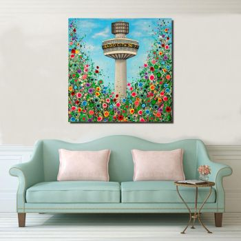 Jo Gough - Radio City Tower with flowers Canvas Print From £85