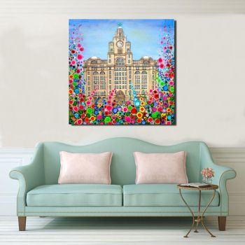 Jo Gough - Liver Building with flowers Canvas Print From £85