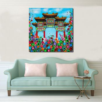 Jo Gough - Liverpool Chinese Arch with flowers Canvas Print From £85