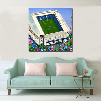 Jo Gough - EFC Stadium with flowers Canvas Print From £85