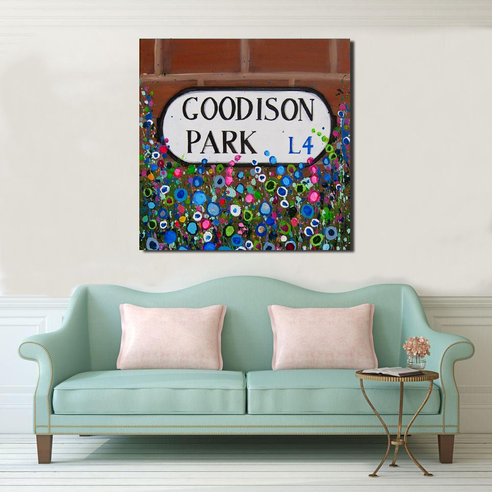 Jo Gough - EFC Goodison Park Sign with flowers Canvas Print From £85