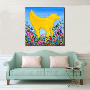 Jo Gough - Lambanana with flowers Canvas Print From £85