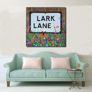 Jo Gough - Lark Lane St Sign with flowers Canvas Print From £85