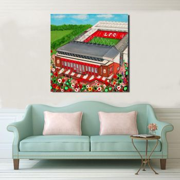 Jo Gough - LFC Stadium with flowers Canvas Print From £85