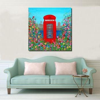 Jo Gough - Red Telephone Box with flowers Canvas Print From £85