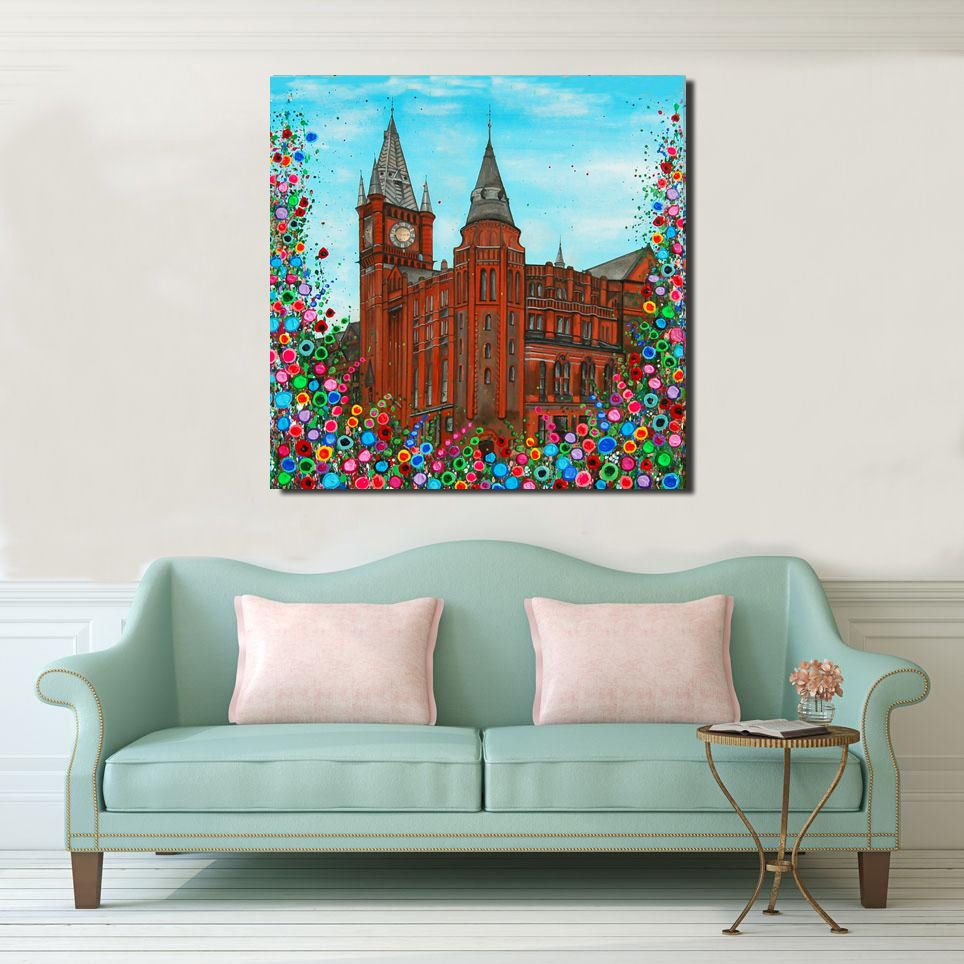 Jo Gough - The Victoria Gallery & Museum Liverpool with flowers Canvas Prin