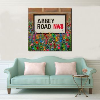 Jo Gough - Abbey Road St Sign with flowers Canvas Print from £85
