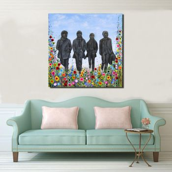 Jo Gough - Beatles Statues with flowers Canvas Print from £85