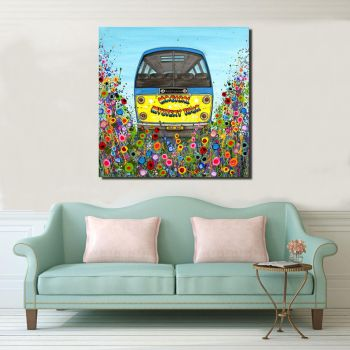 Jo Gough - Magical Mystery Tour Bus with flowers Canvas Print from £85