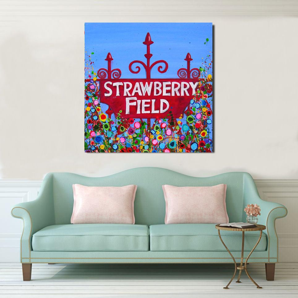 Jo Gough - Strawberry Fields Sign with flowers Canvas Print from £85