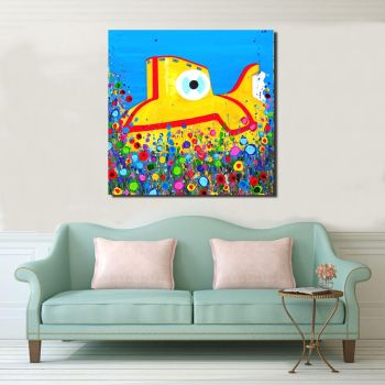Jo Gough - Yellow Submarine with flowers Canvas Print from £85
